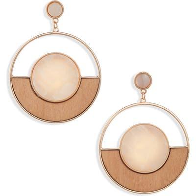 Bp. Wood & Resin Frontal Hoop Earrings