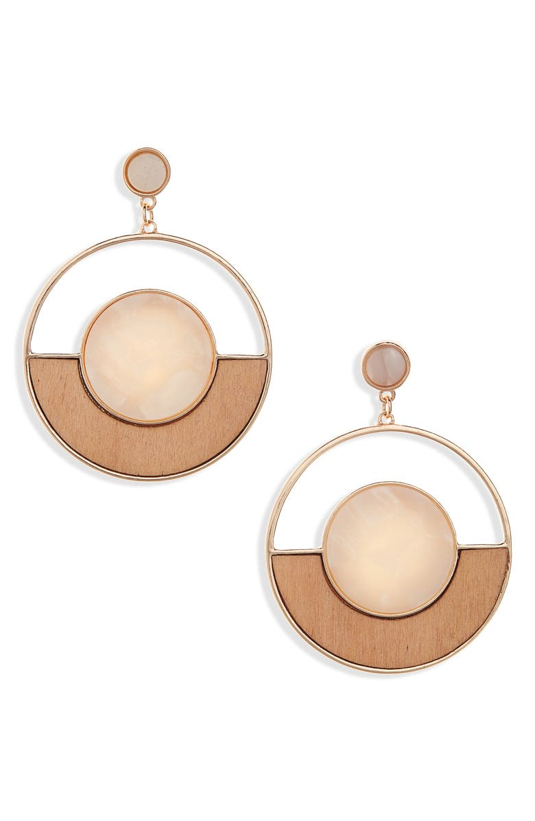 BP. Wood & Resin Frontal Hoop Earrings, Main, color, TAN- GOLD