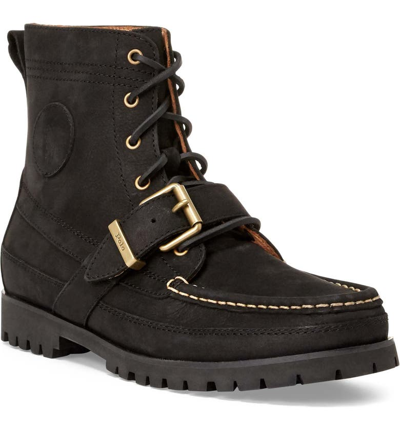 POLO RALPH LAUREN Ranger Boot, Main, color, BLACK LEATHER