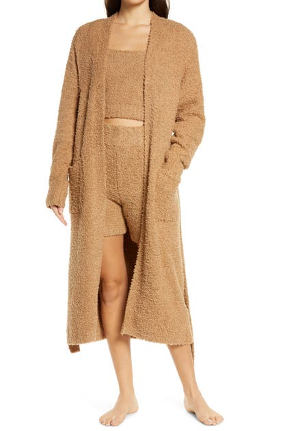 Skims Cozy Knit Boucle Robe In Camel
