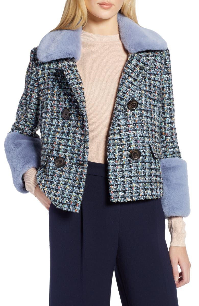 HALOGEN<SUP>®</SUP> x Atlantic-Pacific Tweed Jacket with Removable Faux Fur Trim, Main, color, BLACK MULTI TWEED