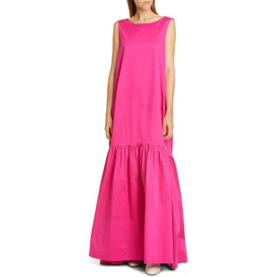 Co Sleeveless Low Back Stretch Cotton Gown, Pink