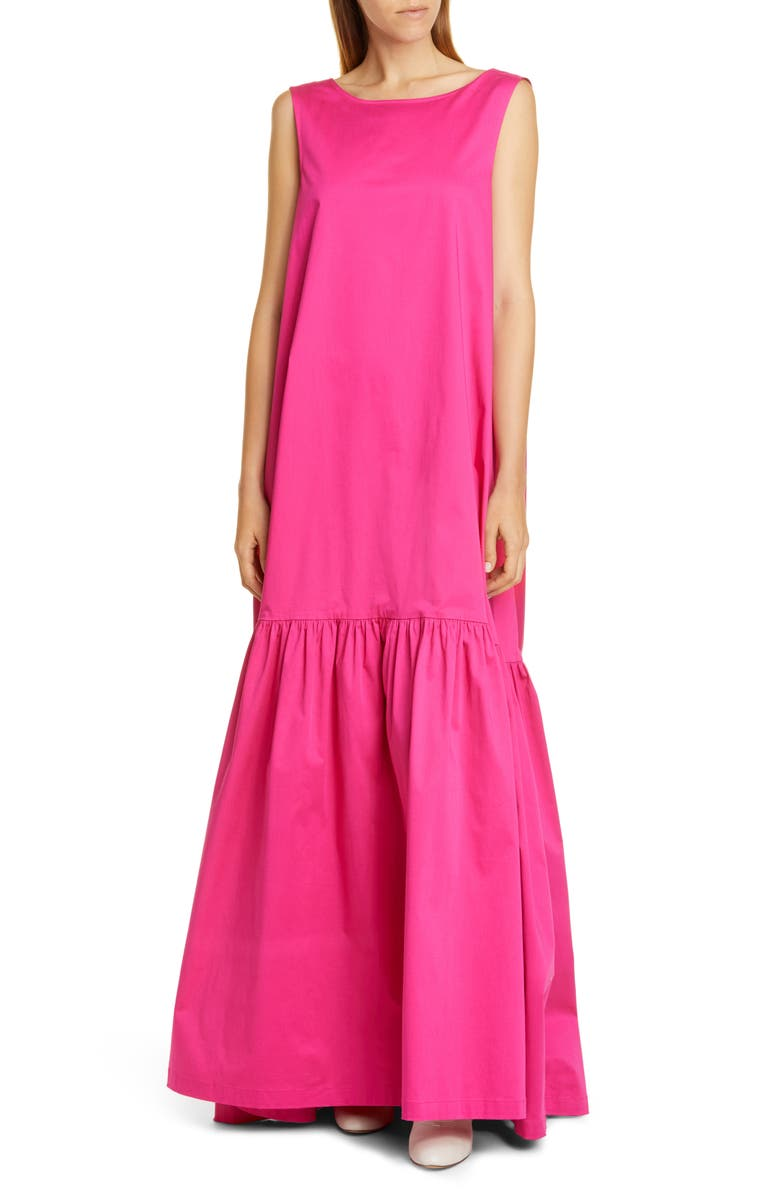 CO Sleeveless Low Back Stretch Cotton Gown, Main, color, CERISE