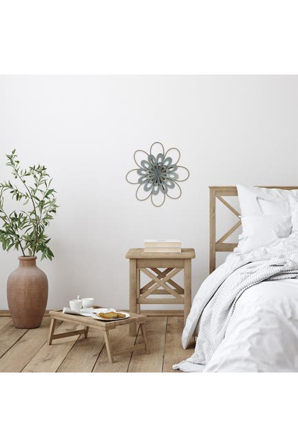 Image of Stratton Home Delicate Light Blue Metal & Wood Flower Wall Decor