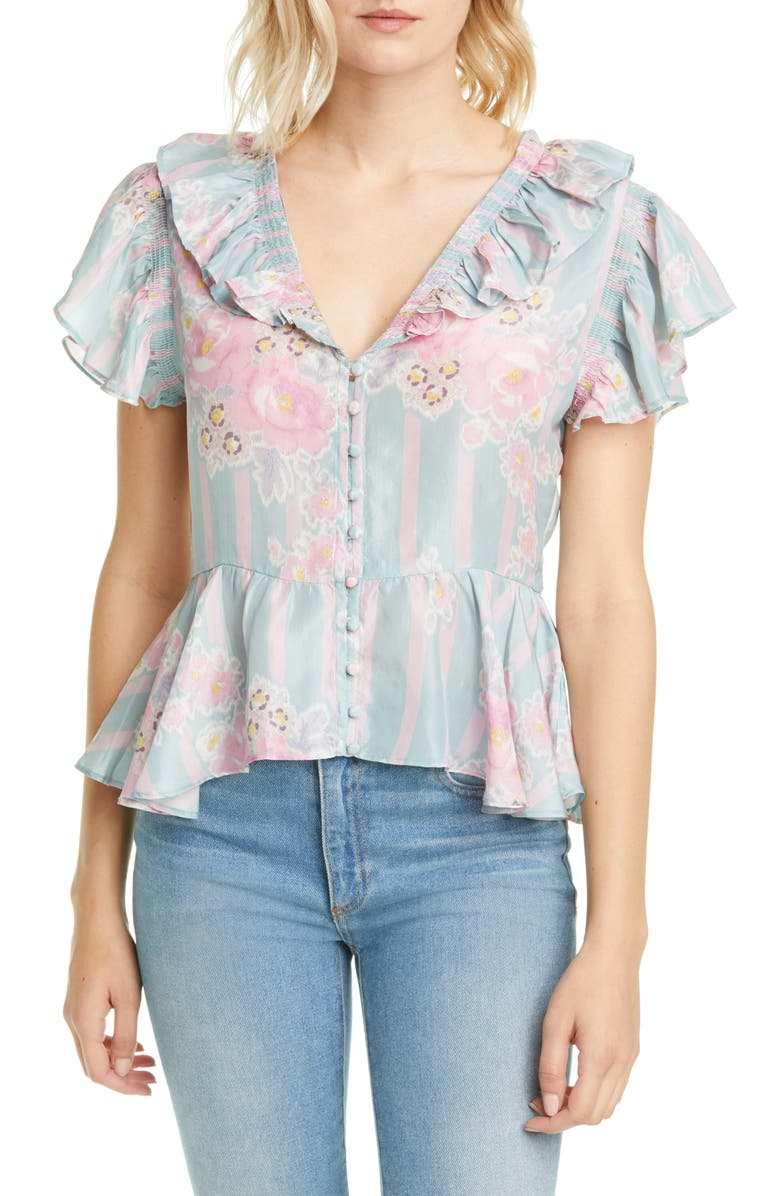 LOVESHACKFANCY Aida Floral Ruffle Silk Blouse, Main, color, 650