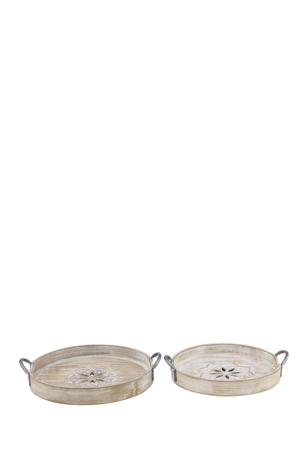 Image of Willow Row Brown Wood Metal Tray - Set of 2