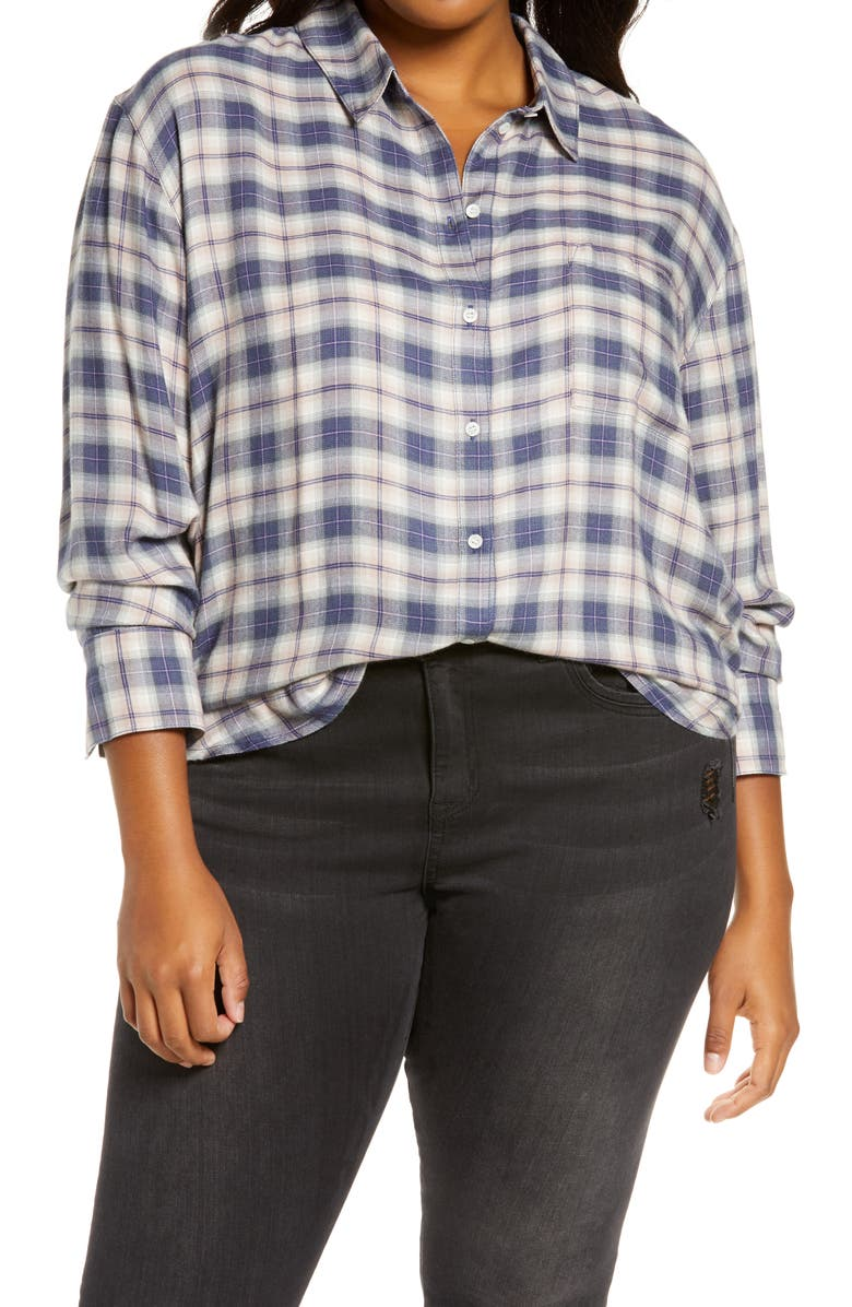 TREASURE & BOND Plaid Boyfriend Shirt, Main, color, BLUE- PINK RYAN PLAID