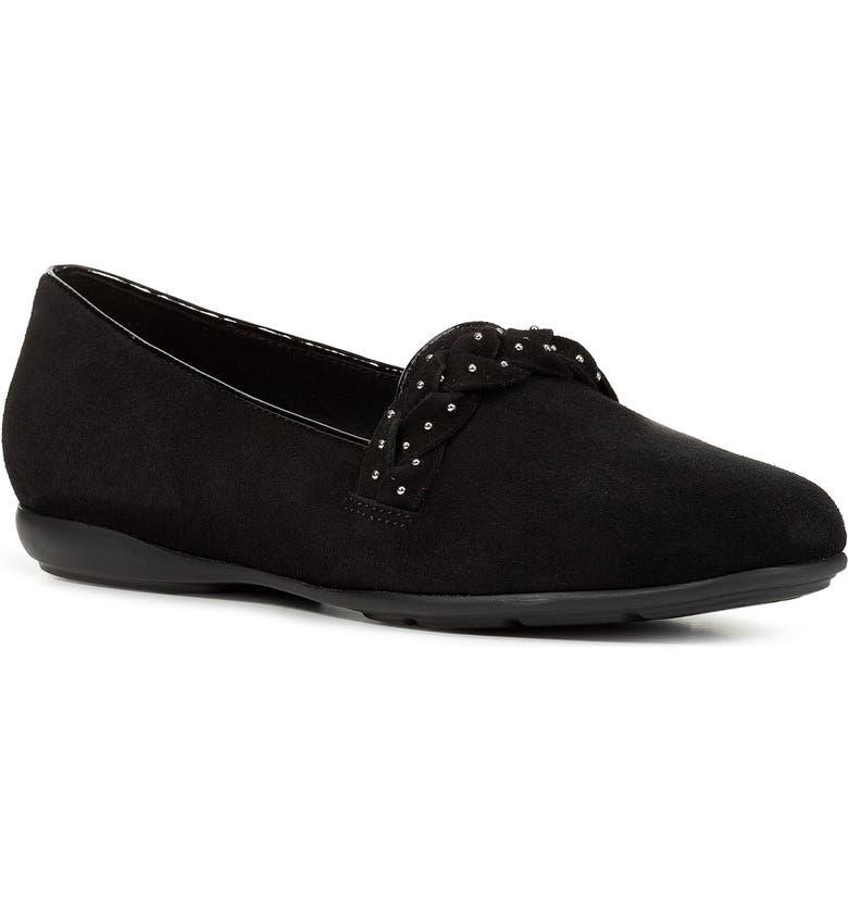 GEOX Annytah Studded Loafer, Main, color, BLACK SUEDE