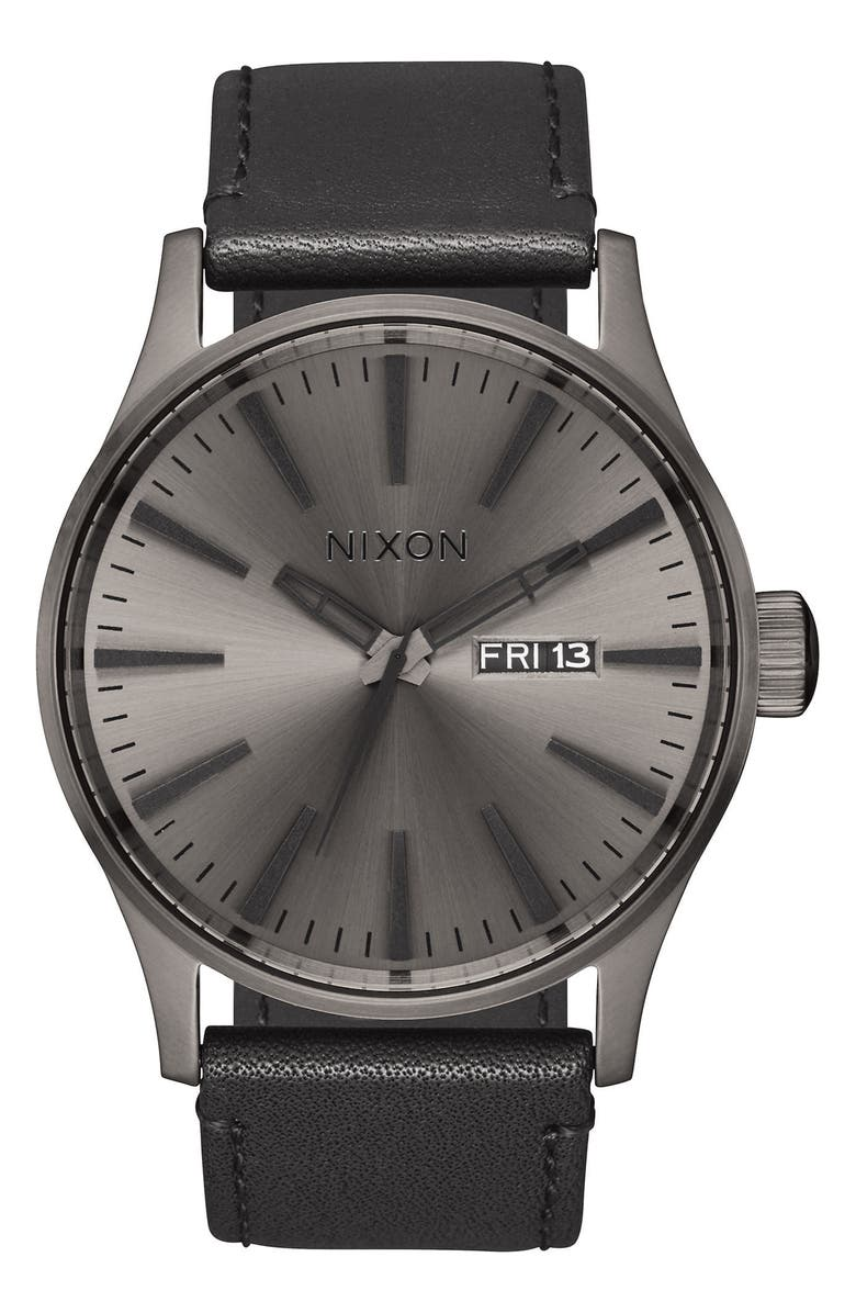 NIXON The Sentry Leather Strap Watch, 42mm, Main, color, BLACK/ GUNMETAL