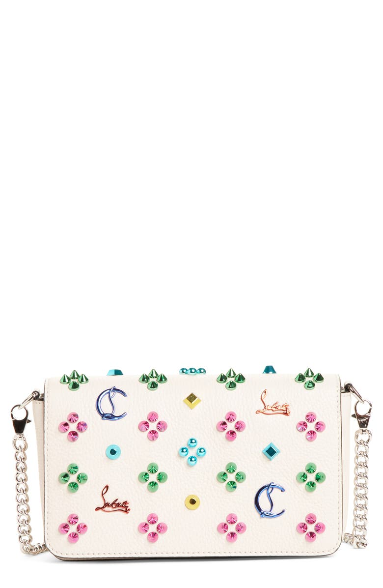 CHRISTIAN LOUBOUTIN Zoompouch Loubinthe Calfskin Clutch, Main, color, IVORY/ MIX METAL