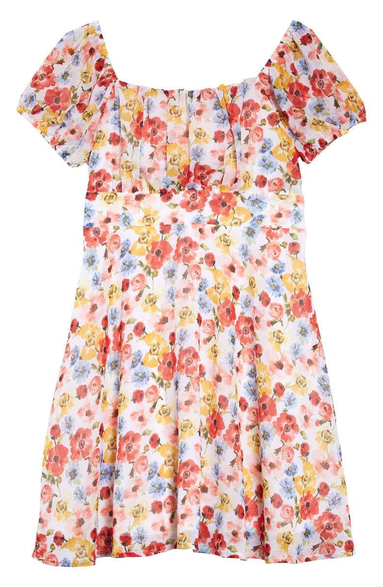 TRIXXI Floral Chiffon Dress, Main, color, 900