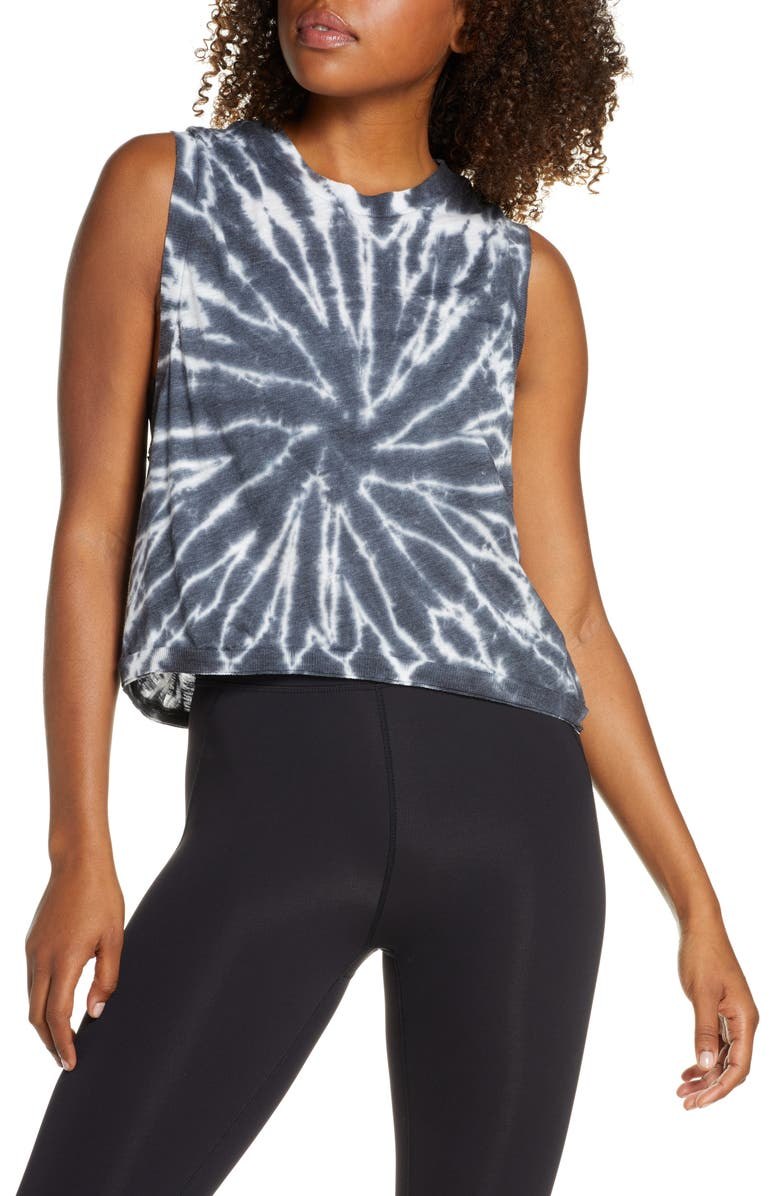 FREE PEOPLE FP MOVEMENT Love Tie Dye Tank, Main, color, BLACK COMBO