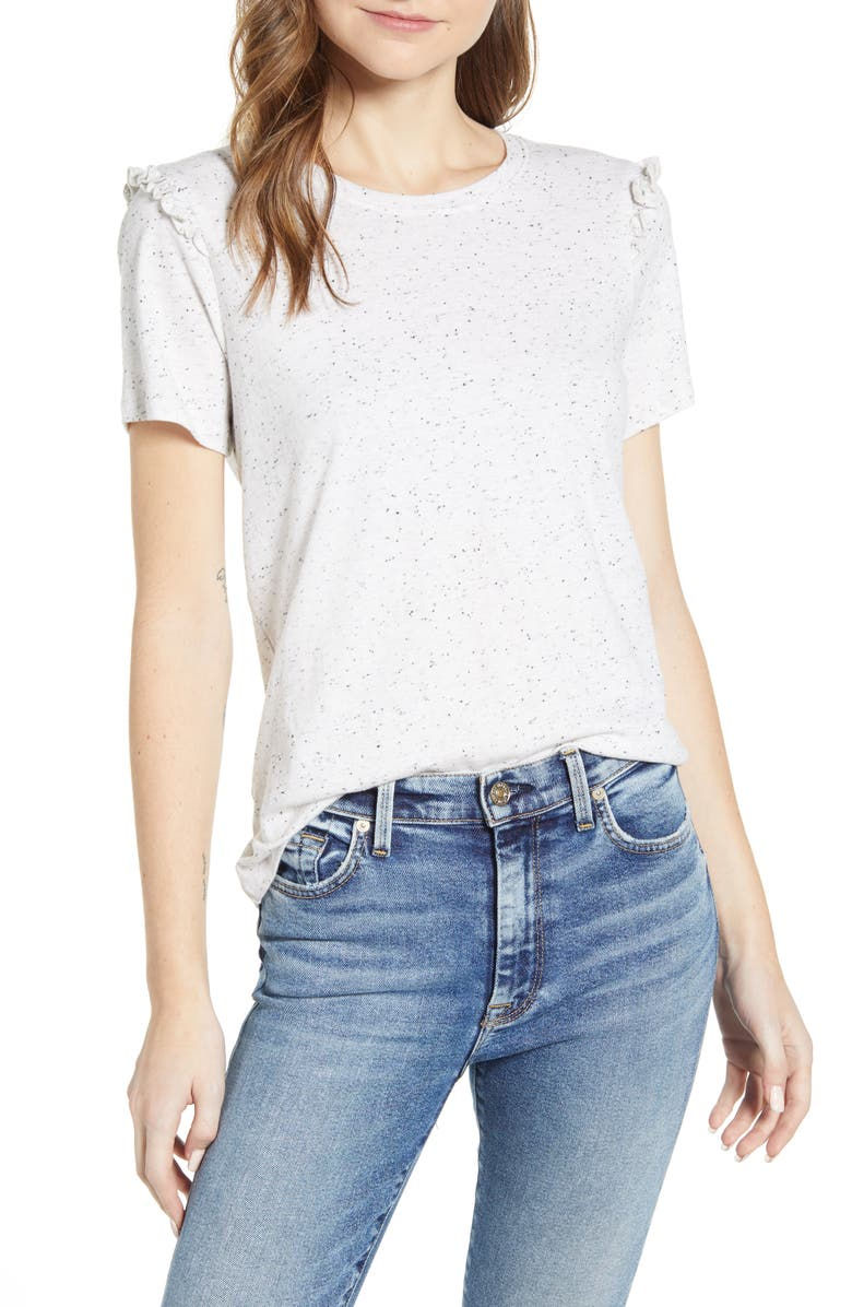 LUCKY BRAND Ruffle Trim Crewneck T-Shirt, Main, color, HEATHER GREY NEPS
