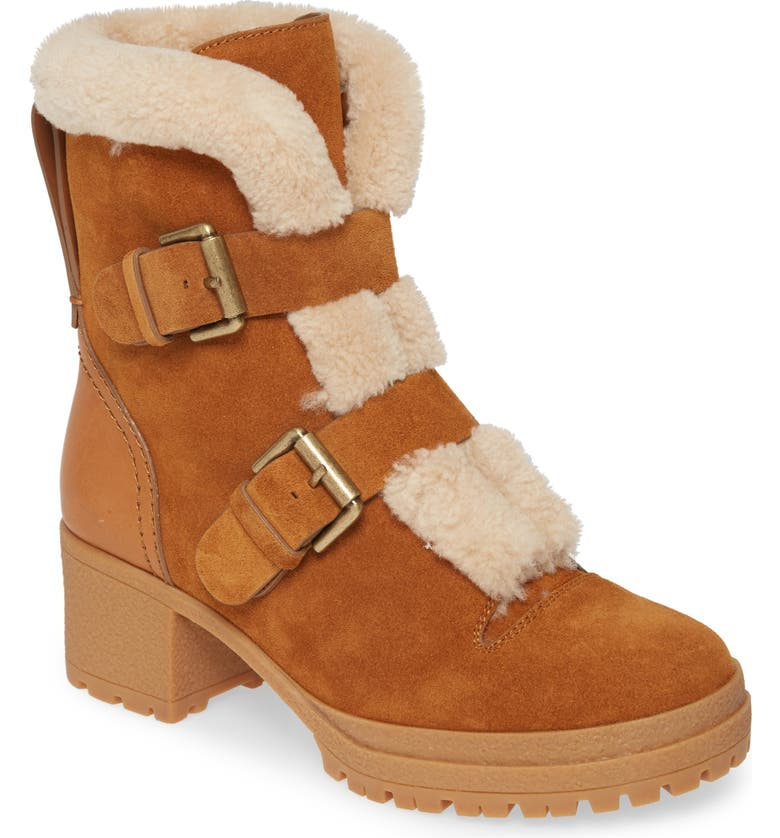 SEE BY CHLOÉ Brandie Genuine Shearling Buckle Bootie, Main, color, NATURAL