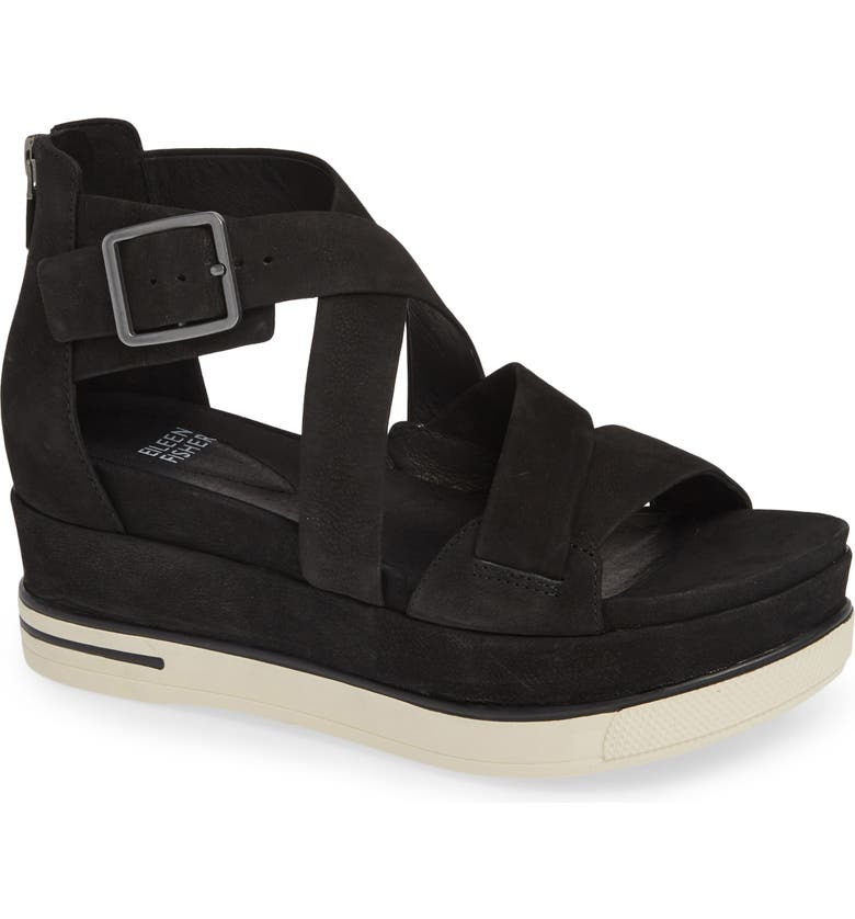 EILEEN FISHER Boost Wedge Sandal, Main, color, BLACK NUBUCK