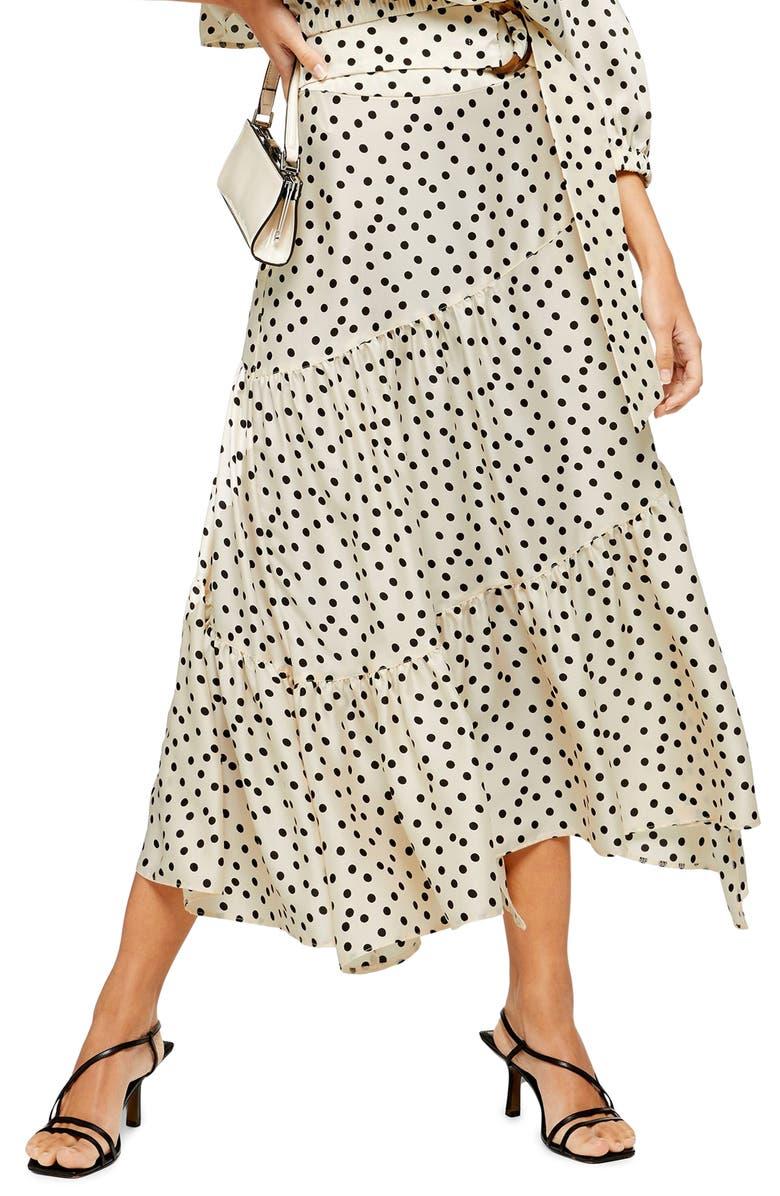 TOPSHOP Polka Dot Tiered Midi Skirt, Main, color, CREAM MULTI