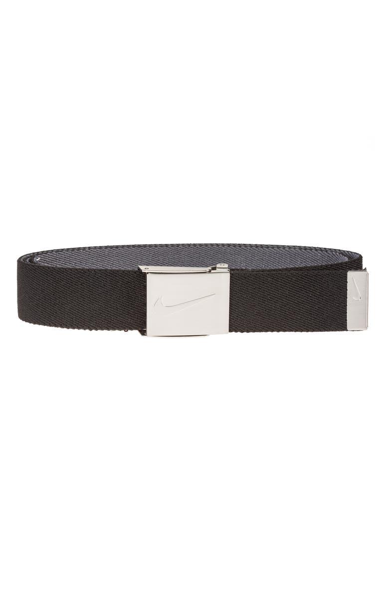 NIKE Reversible Web Belt, Main, color, BLACK GREY