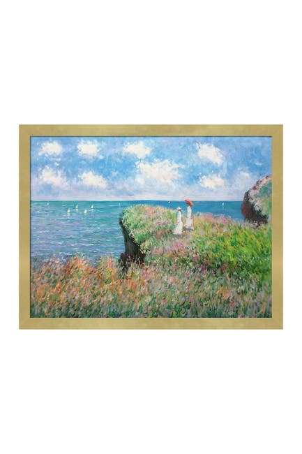 Image of Overstock Art Cliff Walk At Pourville - Framed Oil Reproduction of an Original Painting By Claude Monet