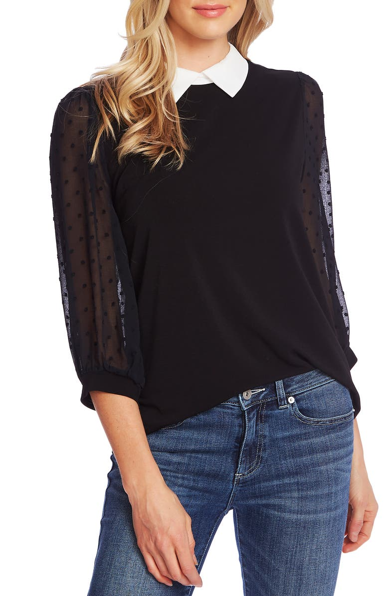 CECE Collared Clip Dot Sleeve Top, Main, color, RICH BLACK