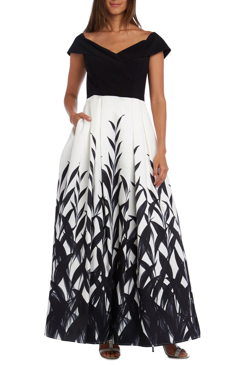 MORGAN & CO. Portrait Neck Pleated Ballgown, Main, color, WHITE/ BLACK