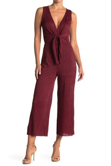 Image of Lush Tie Front Sleeveless Plisse Jumpsuit