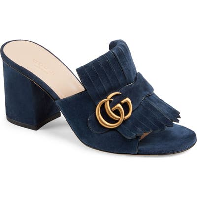 Gucci Gg Marmont Peep Toe Mule, Blue