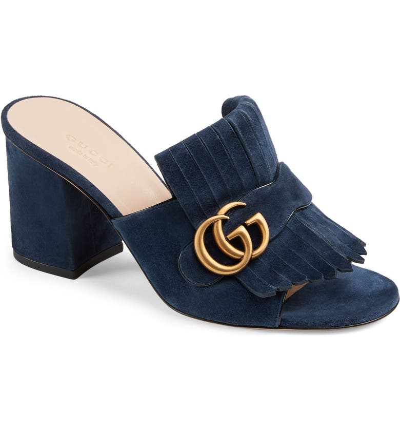 GUCCI GG Marmont Peep Toe Mule, Main, color, BLUE INK SUEDE