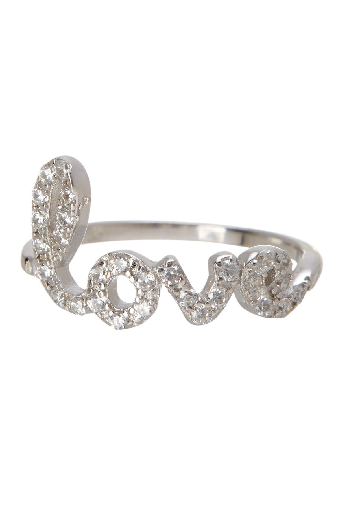 Image of ADORNIA Sterling Silver Pave Swarovski Crystal Cursive Love Ring