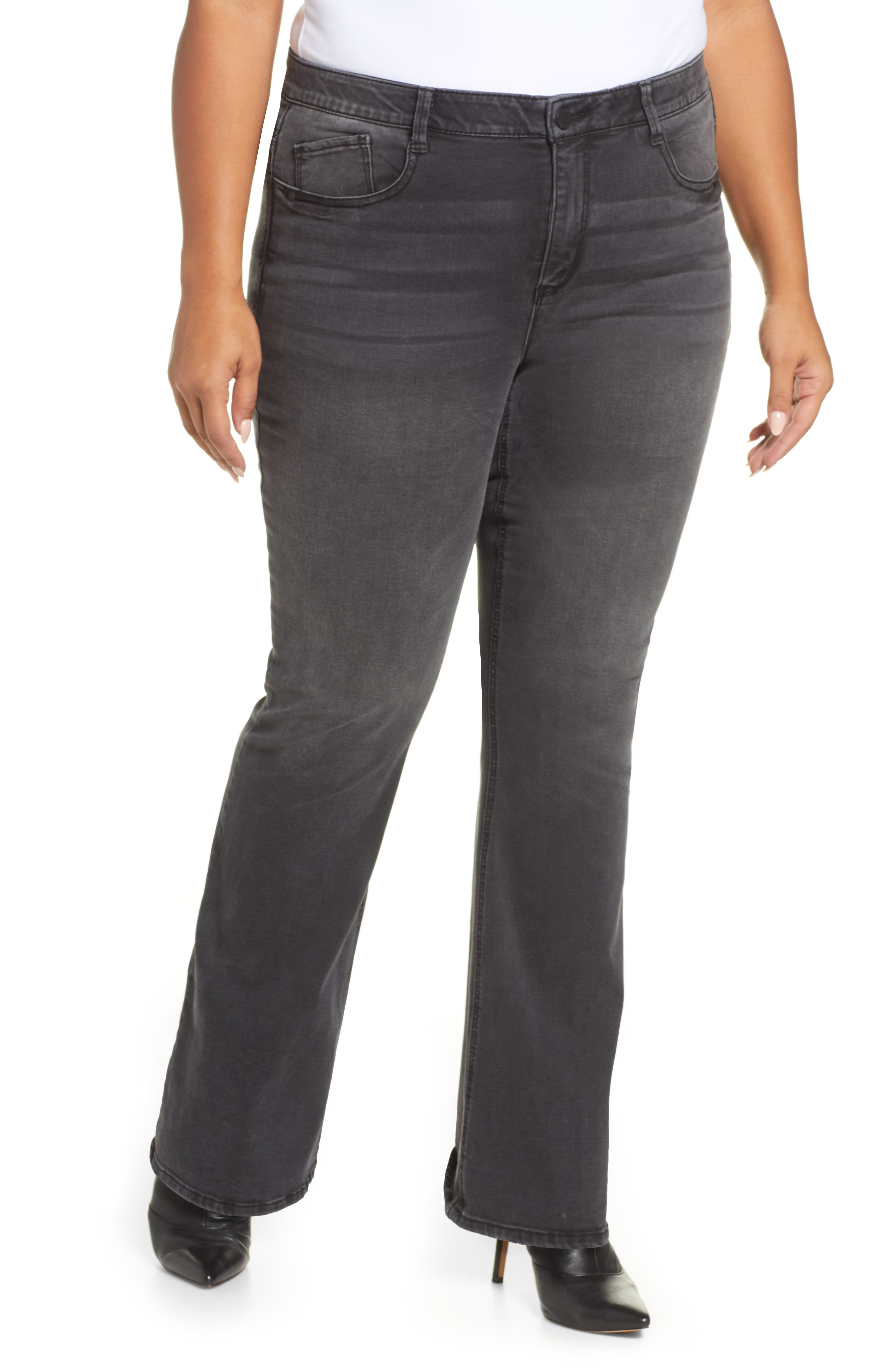 An elongating cut of stretch denim gives these jeans a slimming, high-waisted fit with Ab-solution technology to shape, smooth and lift in all the right places. Style Name: Wit & Wisdom Ab-Solution Itty Bitty More High Waist Bootcut Jeans (Plus Size) (Nordstrom Exclusive). Style Number: 5972714. Available in stores.