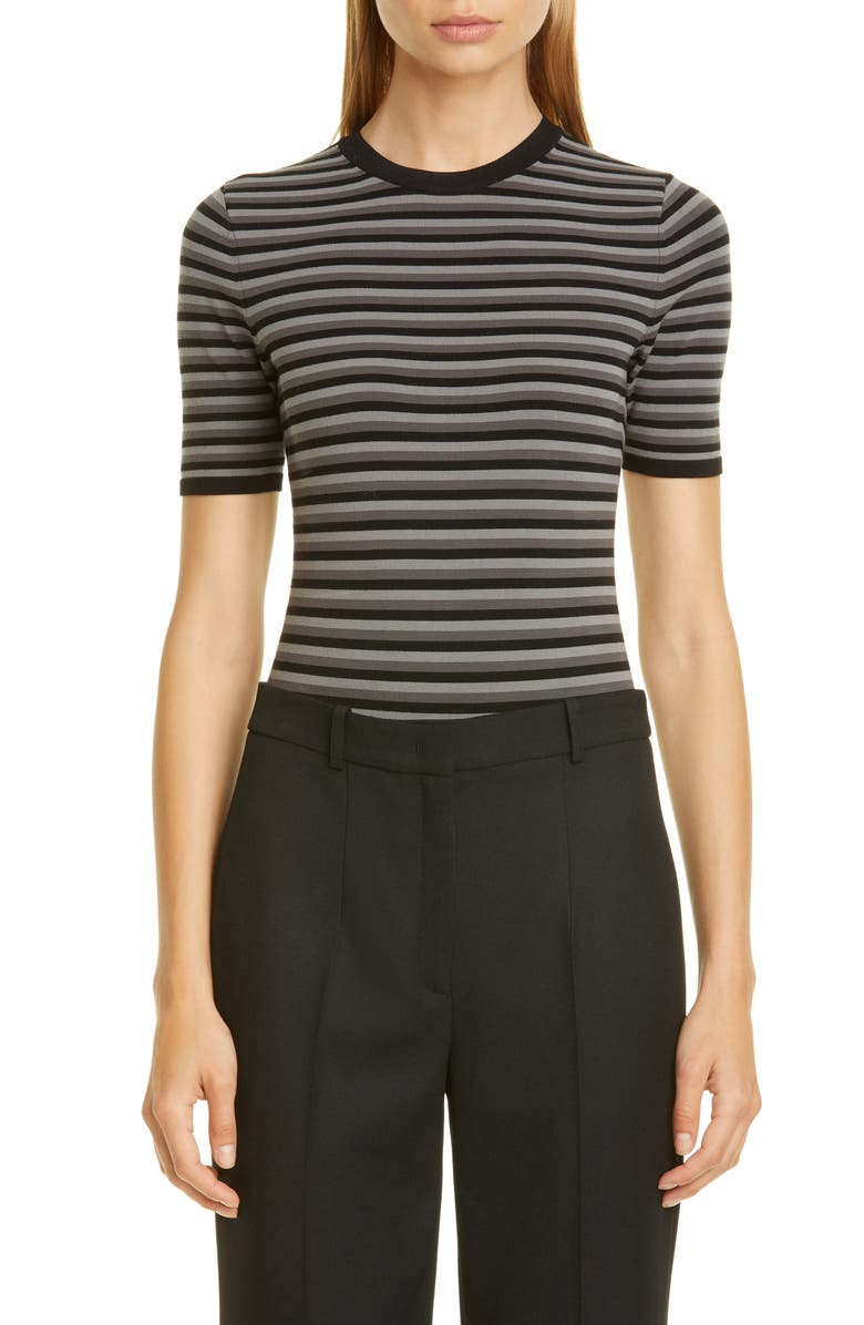 MICHAEL KORS Stripe Crewneck Bodysuit, Main, color, 020