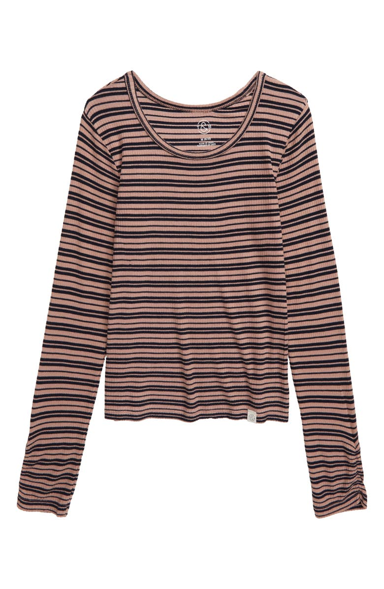 TREASURE & BOND Stripe Rib Long Sleeve Shirt, Main, color, PINK ADOBE- NAVY STRIPE