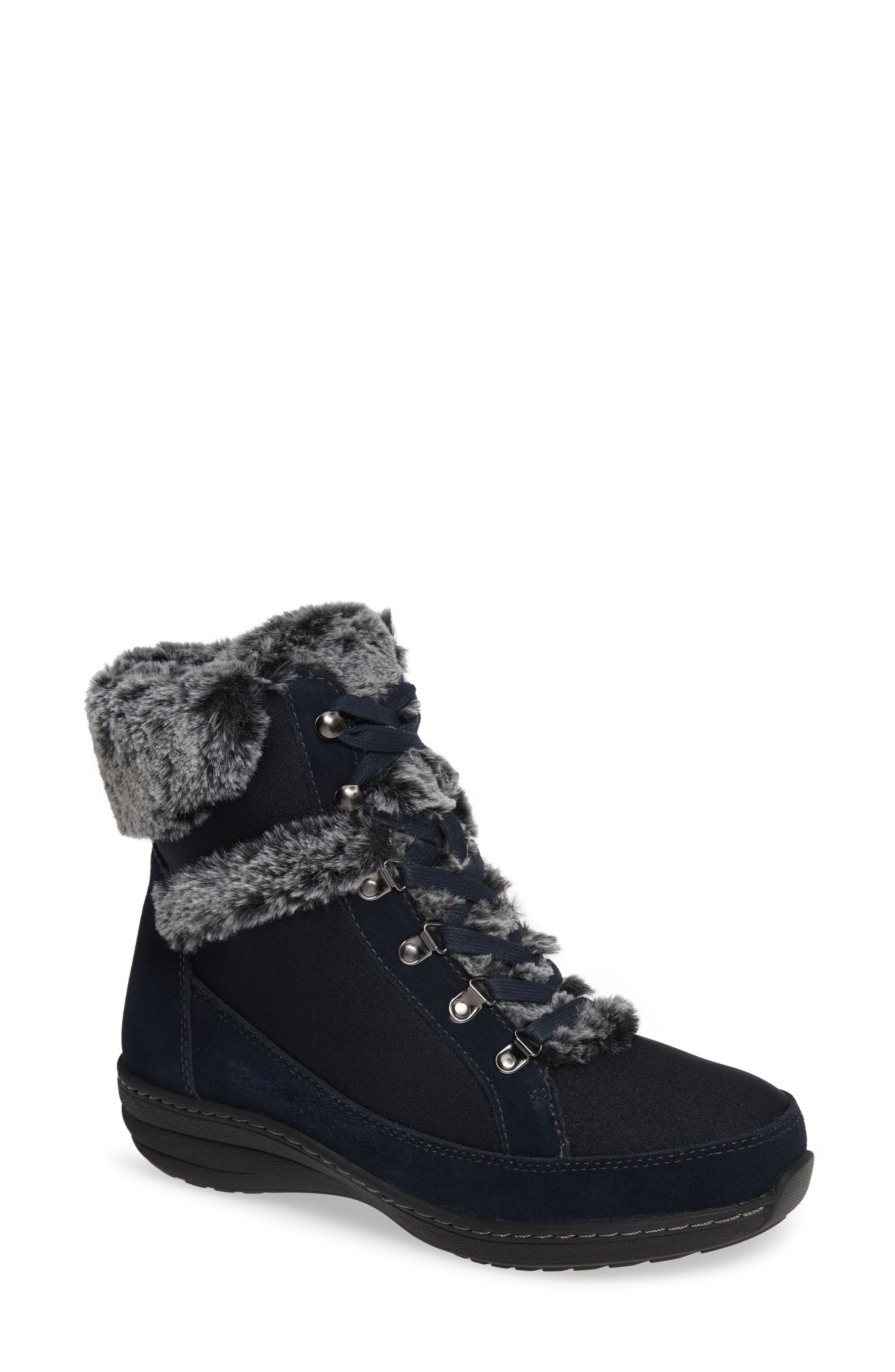 Aetrex Fiona Faux Fur Lined Boot, Blue