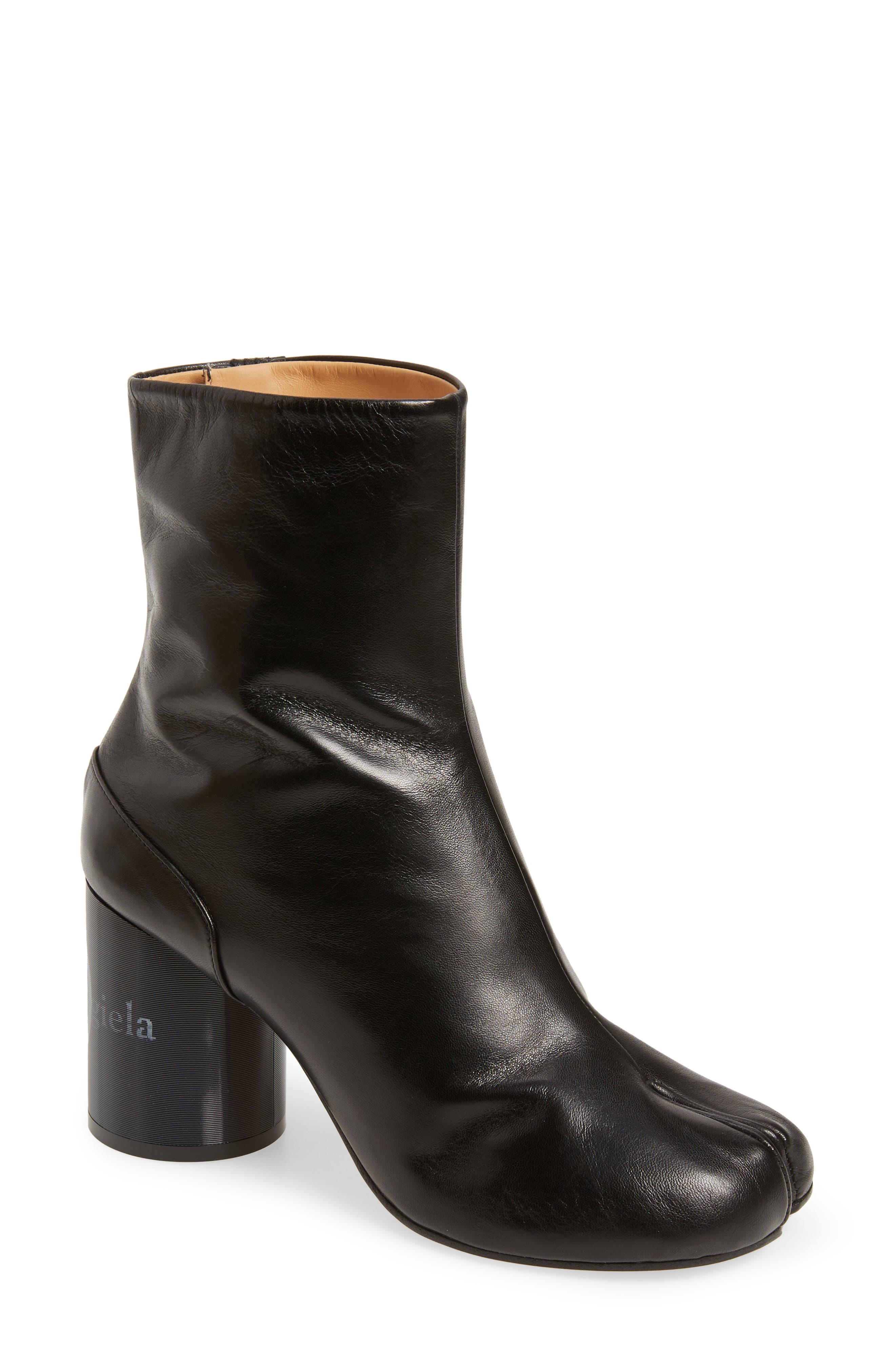 Tabi Lenticular Heel Bootie, Main, color, BLACK