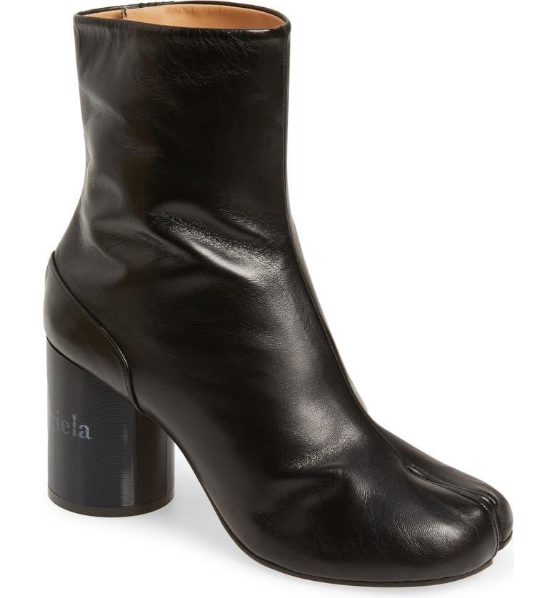 MAISON MARGIELA Tabi Lenticular Heel Bootie, Main, color, BLACK
