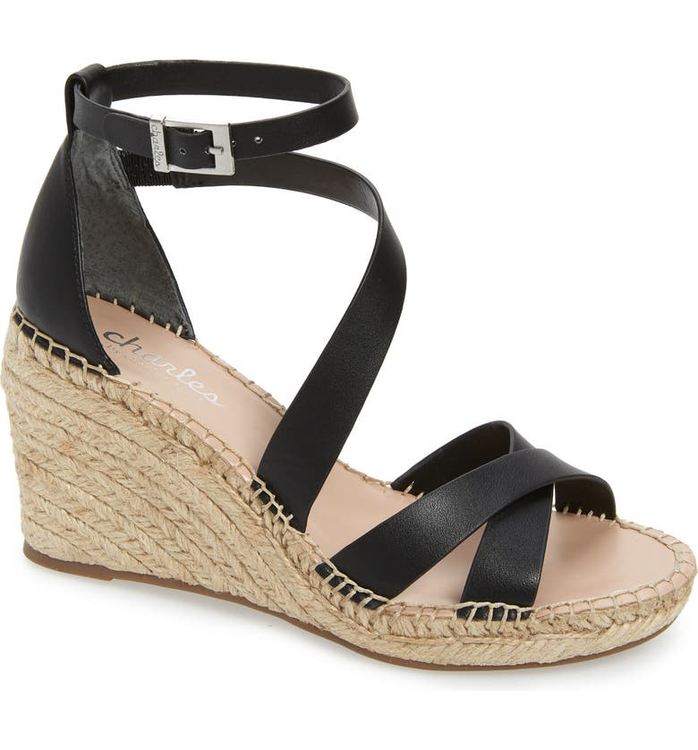 CHARLES BY CHARLES DAVID Noteworthy Wedge Espadrille Sandal, Main, color, BLACK FAUX LEATHER