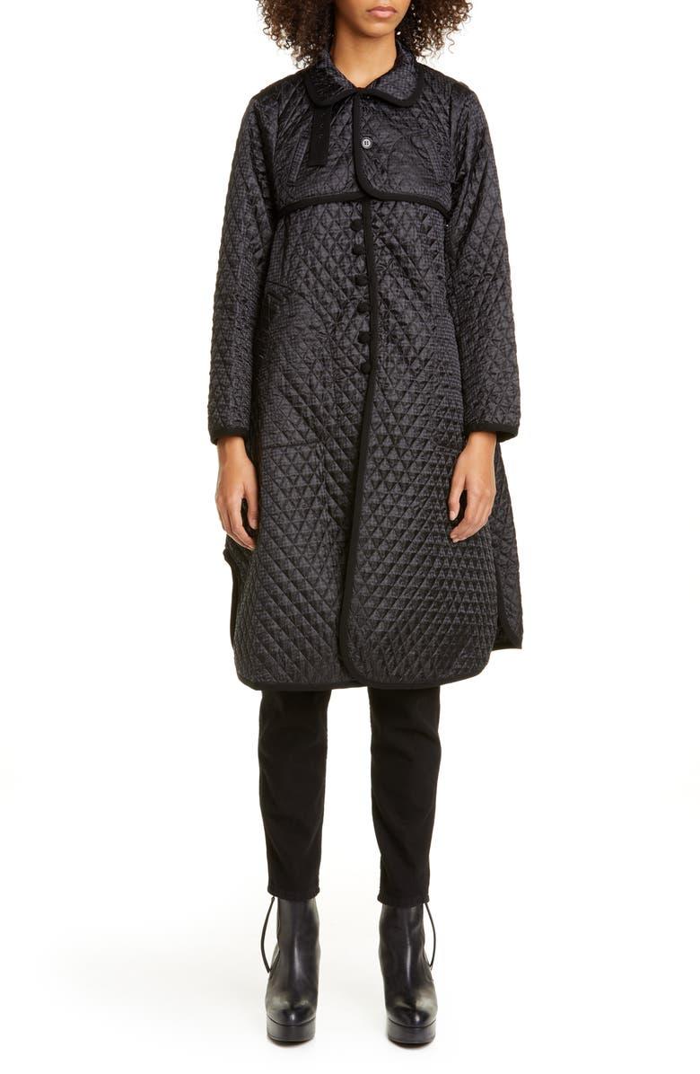 NOIR KEI NINOMIYA Quilted Houndstooth Satin Coat, Main, color, BLACK