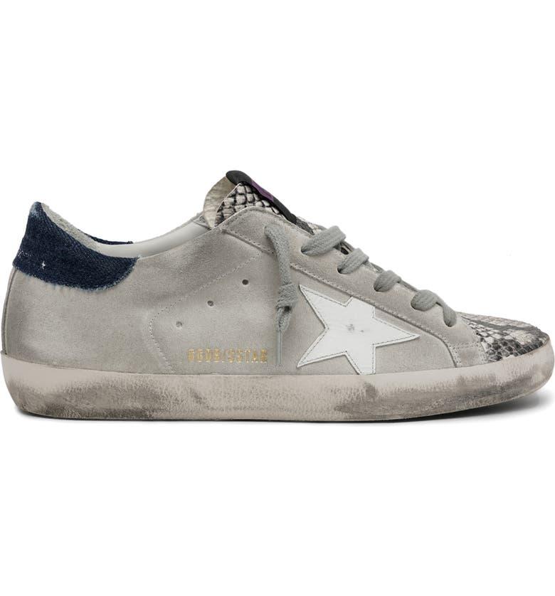 GOLDEN GOOSE Super Star Low Top Sneaker, Main, color, ROCK SNAKE/ ICE/ WHITE/ BLUE