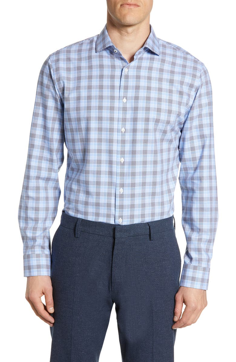 NORDSTROM MEN'S SHOP Tech-Smart Trim Fit Stretch Plaid Dress Shirt, Main, color, BLUE ROBBIA