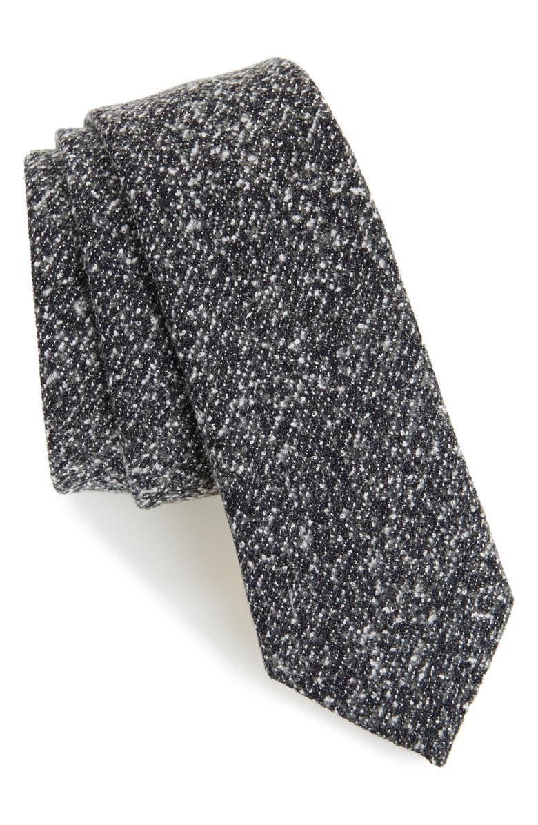 TOPMAN Salt & Pepper Woven Tie, Main, color, 020