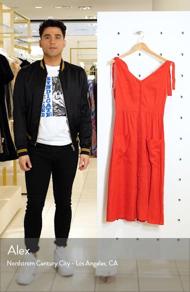 Button Front Linen Midi Dress, sales video thumbnail