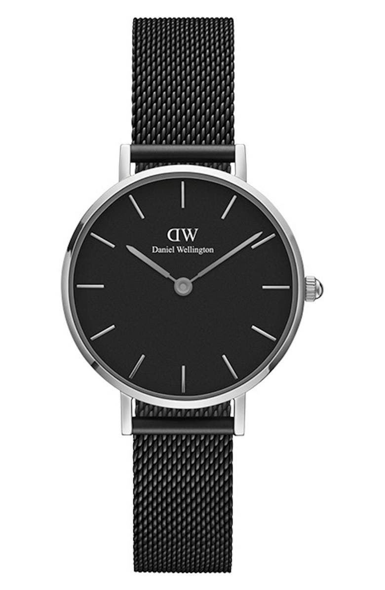 DANIEL WELLINGTON Classic Petite Mesh Strap Watch, 28mm, Main, color, BLACK / SILVER