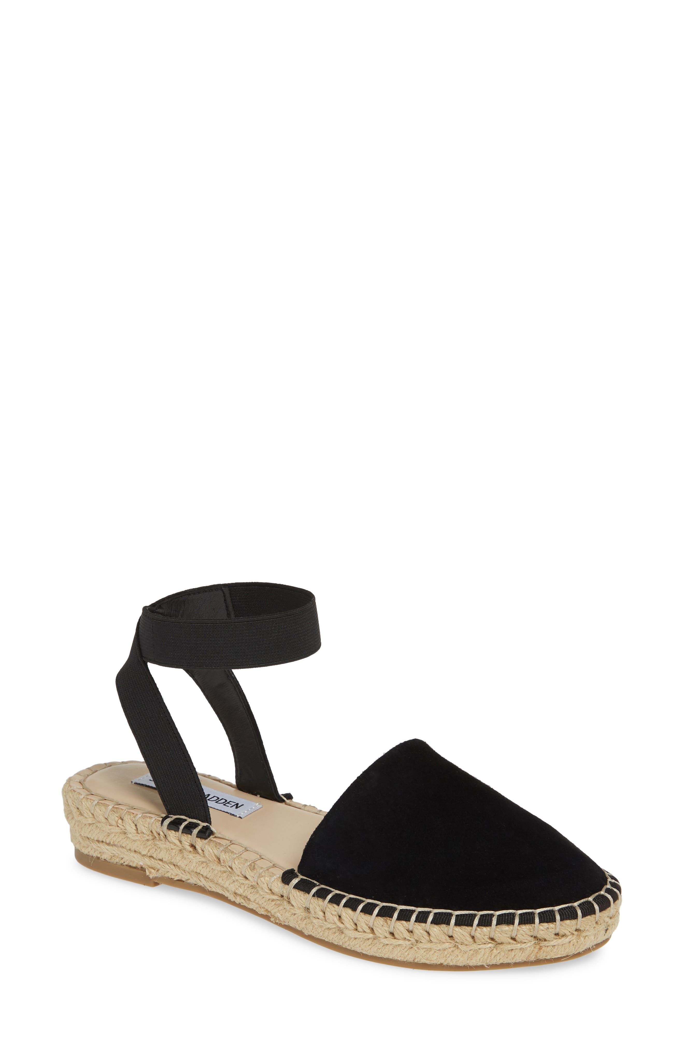 Moment Strappy Espadrille Sandal, Main, color, BLACK SUEDE