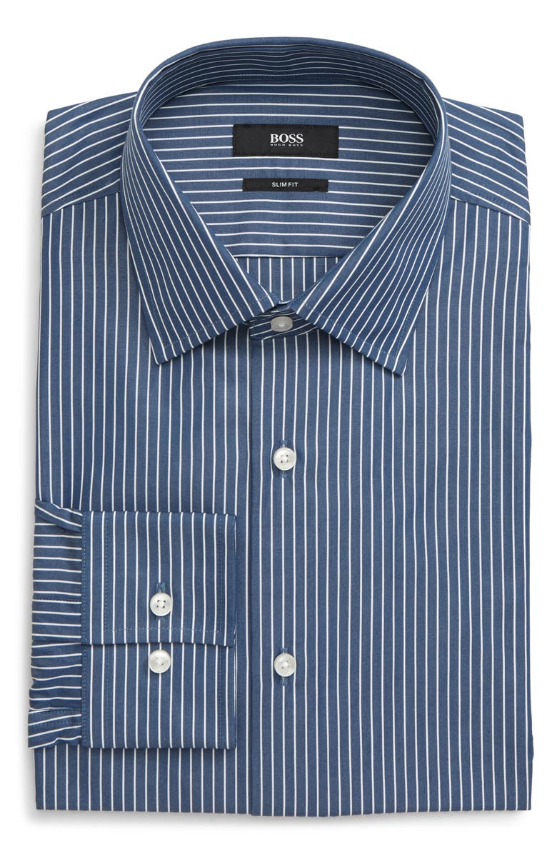 BOSS Jango Slim Fit Stripe Dress Shirt, Main, color, NAVY