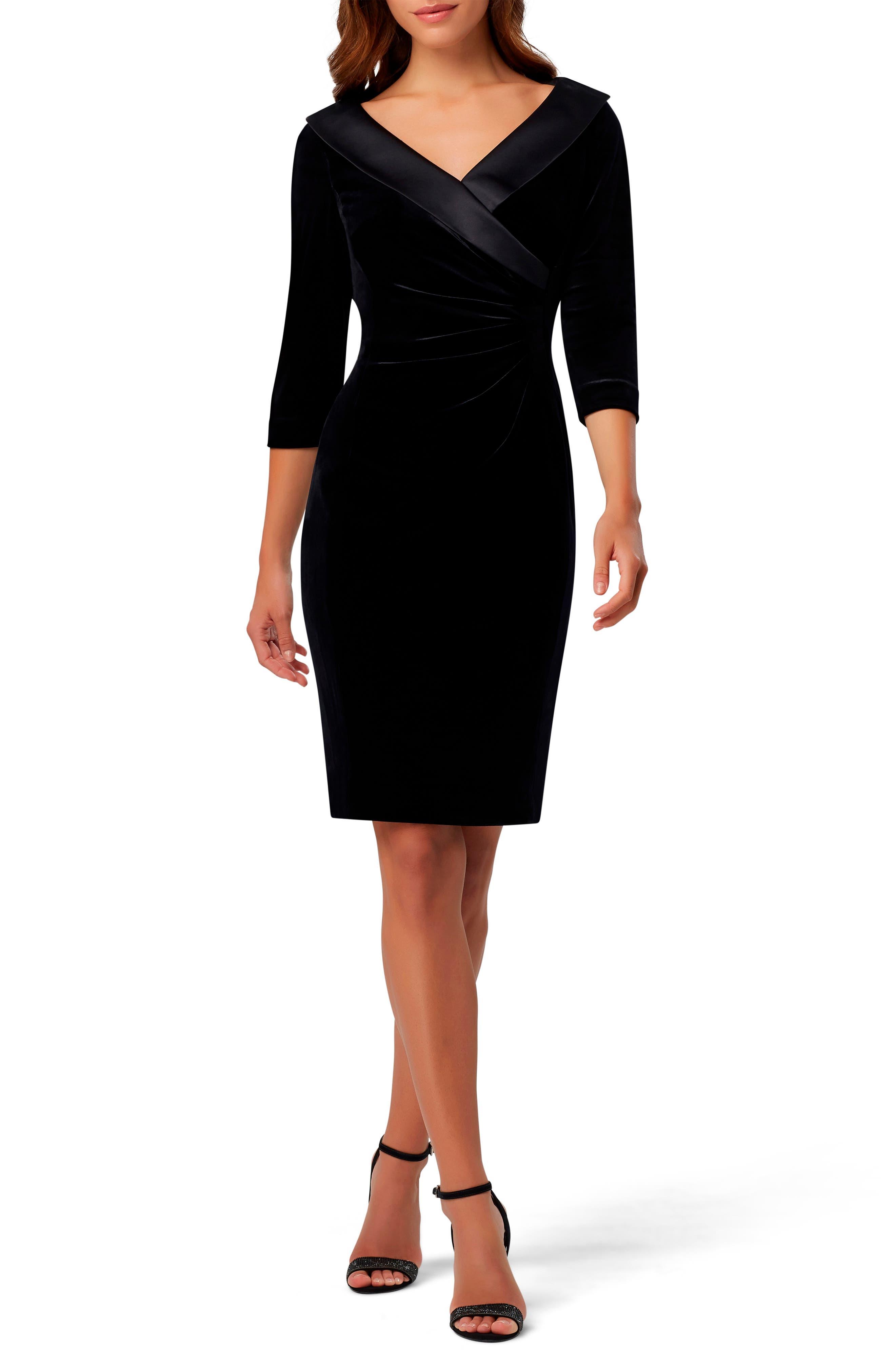 Tahari Ruched Portrait Collar Velvet Sheath Dress   Nordstrom