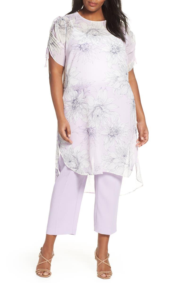 VINCE CAMUTO Pagoda Blossoms Shirttail Tunic, Main, color, FRESH LILAC