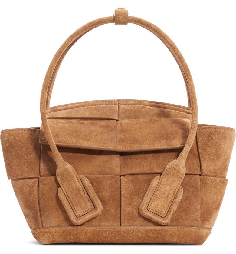 BOTTEGA VENETA The Arco 33 Intrecciato Suede Top Handle Bag, Main, color, CARAMEL/ GOLD