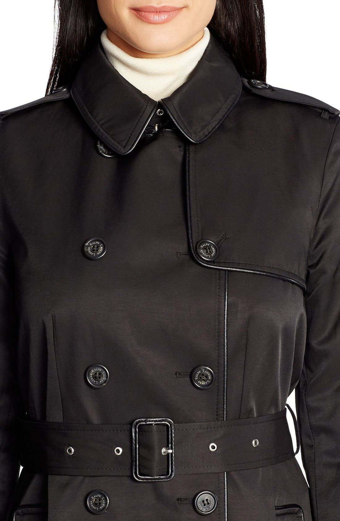 ,                             Faux Leather Trim Trench Coat,                             Alternate thumbnail 14, color,                             001
