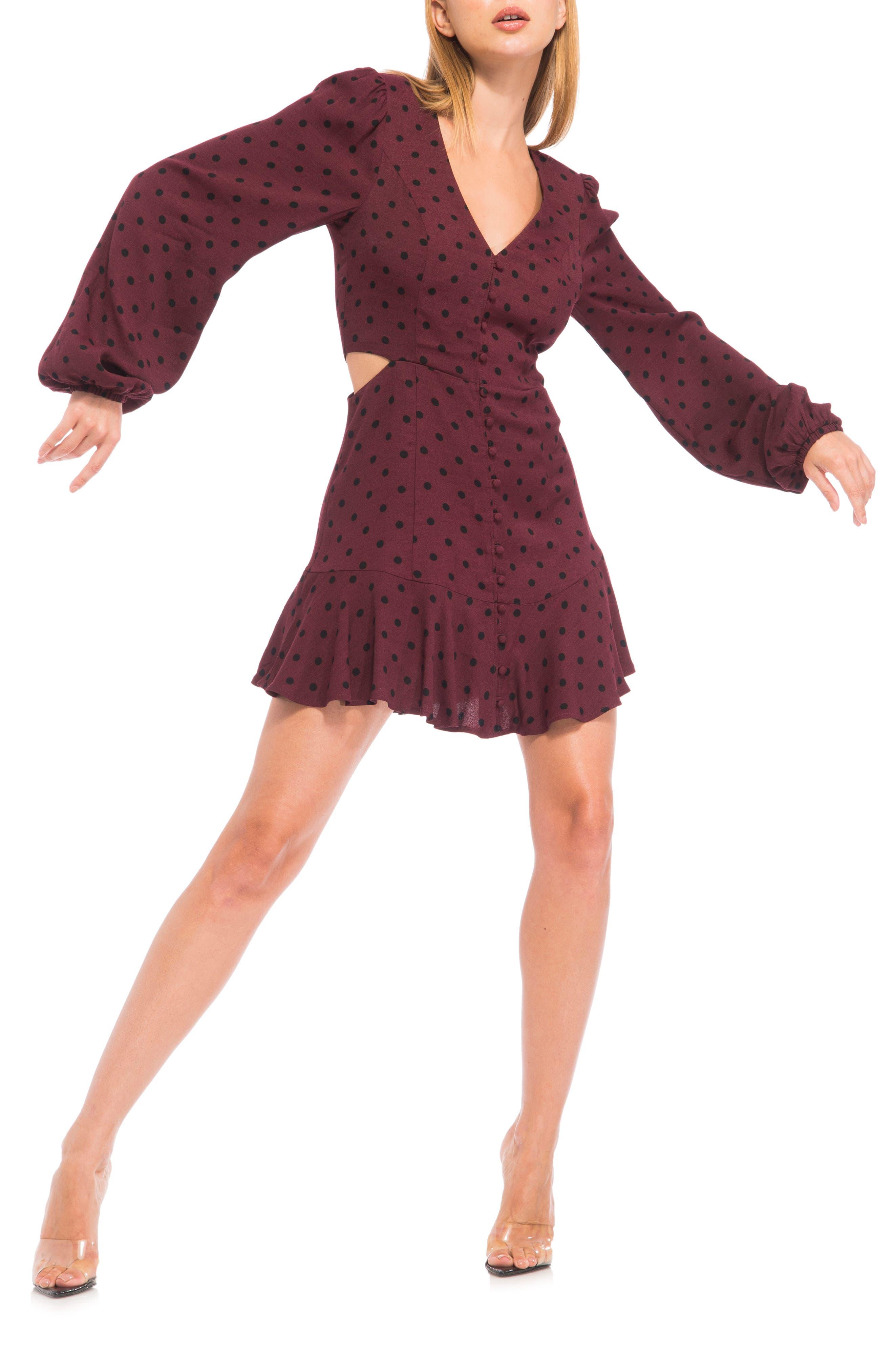 Monna Print Side Cutout Long Sleeve Minidress
