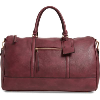 Sole Society Devon Faux Leather Weekend Duffle Bag - Burgundy