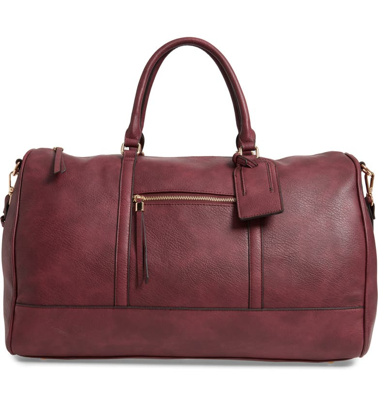 SOLE SOCIETY Devon Faux Leather Weekend Duffle Bag, Main, color, OXBLOOD